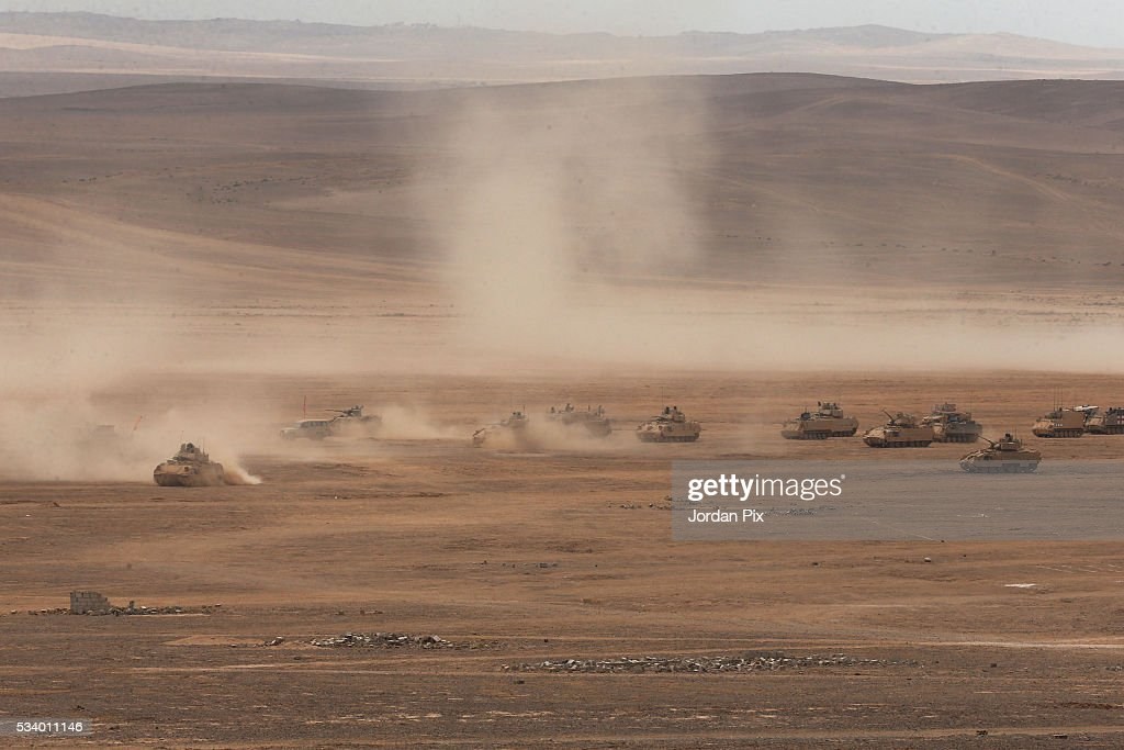 Jordan Armed Forces, U.S. Army and U.S. Marine Corps forces conduct a combined Arms Live Fire Exercise that practices the synchronization of tactical maneuver, fire support assets and air power, during the Eager Lion 2016 exercise that takes place near Zarqa, Jordan, on May 24, 2016. Eager Lion is a joint exercise between U.S. and Jordanian forces and is one of the U.S. Central Command's premiere exercises, in the Hashemite Kingdom of Jordan during the month of May, consisting a week-long series of simulated scenarios to facilitate a coordinated partnered military response to conventional and unconventional threats.