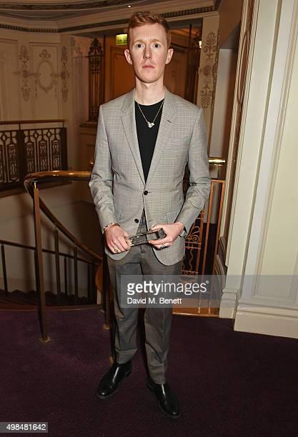 Jordan Askill winner of the Emerging Accessory Designer Award attends the British Fashion Awards in partnership with Swarovski at the London Coliseum...