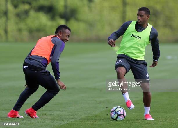 Jordan Ayew against Luciano Narsingh during the Swansea City Training at The Fairwood Training Ground on May 18 2017 in Swansea Wales
