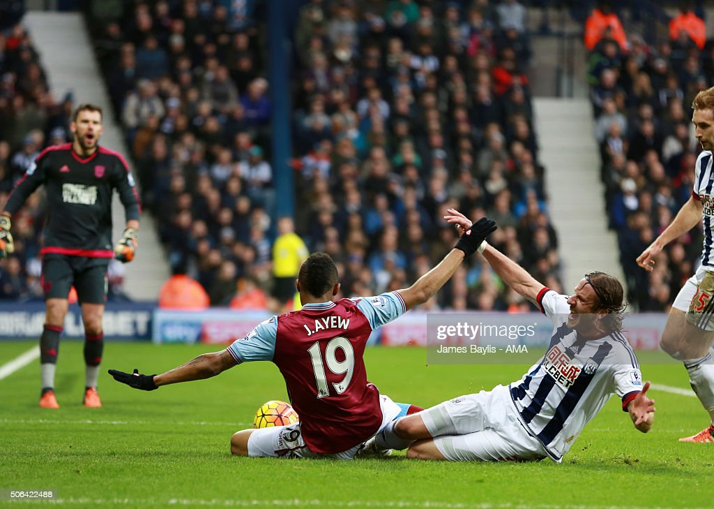 Jordan Ayew of Aston Villa appeals for a penalty after this challenge from Jonas Olsson of West Bromwich Albion during the Barclays Premier League match between West Bromwich Albion and Aston Villa at The Hawthorns on January 23, 2016 in West Bromwich, England.