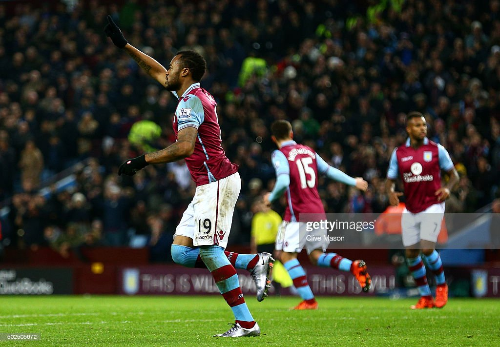 <a gi-track='captionPersonalityLinkClicked' href=/galleries/search?phrase=Jordan+Ayew&family=editorial&specificpeople=6595555 ng-click='$event.stopPropagation()'>Jordan Ayew</a> of Aston Villa celebrates after scoring his side's first goal from the penalty spot during the Barclays Premier League match between Aston Villa and West Ham United at Villa Park on December 26, 2015 in Birmingham, England.