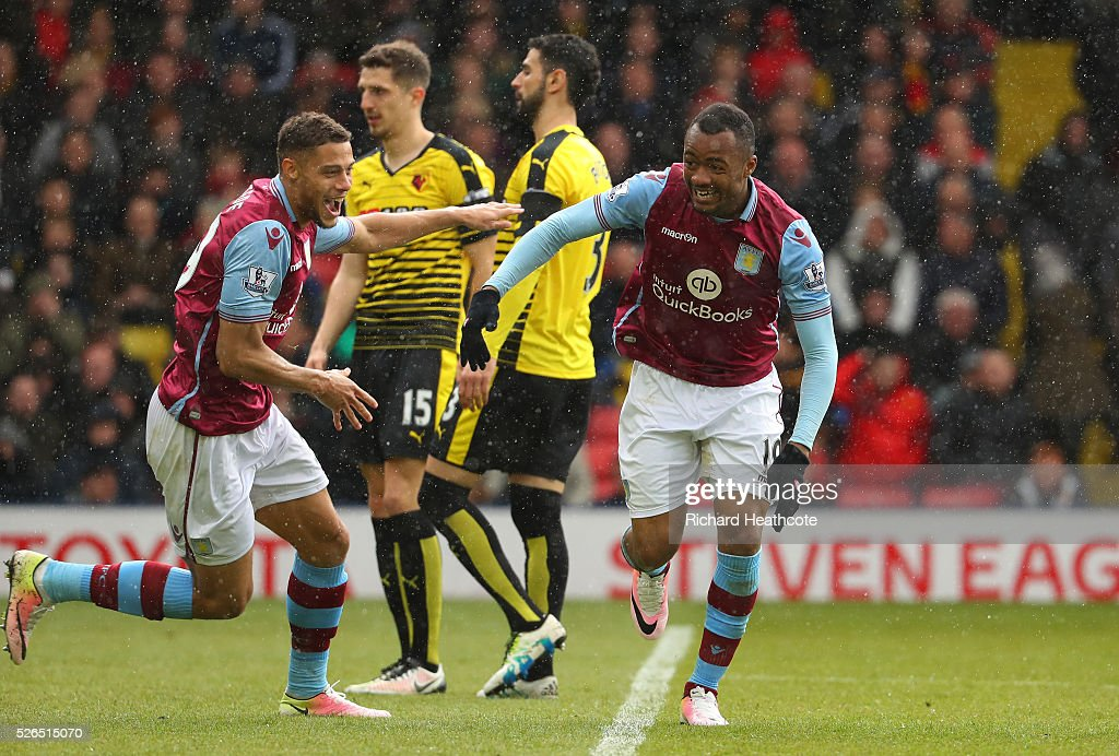Jordan Ayew of Aston Villa celebrates scoring his team's second goal during the Barclays Premier League match between Watford and Aston Villa at...