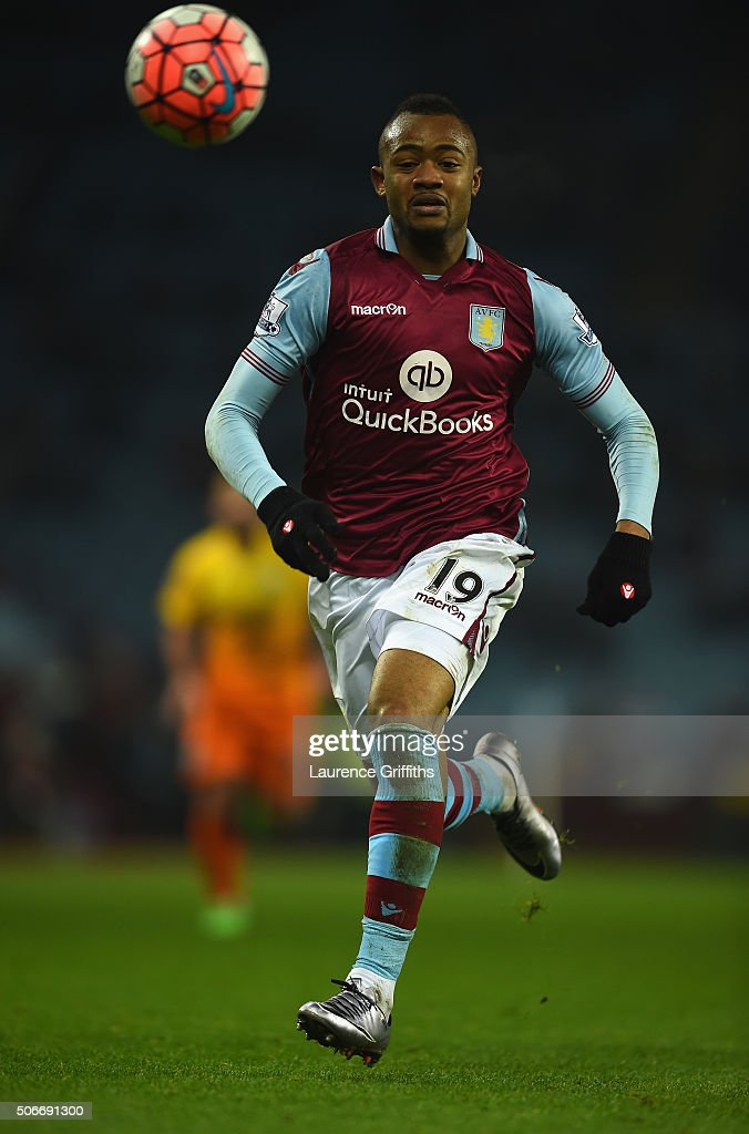 <a gi-track='captionPersonalityLinkClicked' href=/galleries/search?phrase=Jordan+Ayew&family=editorial&specificpeople=6595555 ng-click='$event.stopPropagation()'>Jordan Ayew</a> of Aston Villa during the Emirates FA Cup Third Round match between Aston Villa and Wycombe Wanderers at Villa Park on January 19, 2016 in Birmingham, England.