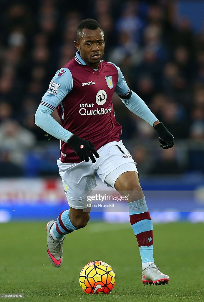 Jordan Ayew of Aston Villa in action during the Barclays Premier League match between Everton and Aston Villa at Goodison Park on November 21 2015 in...