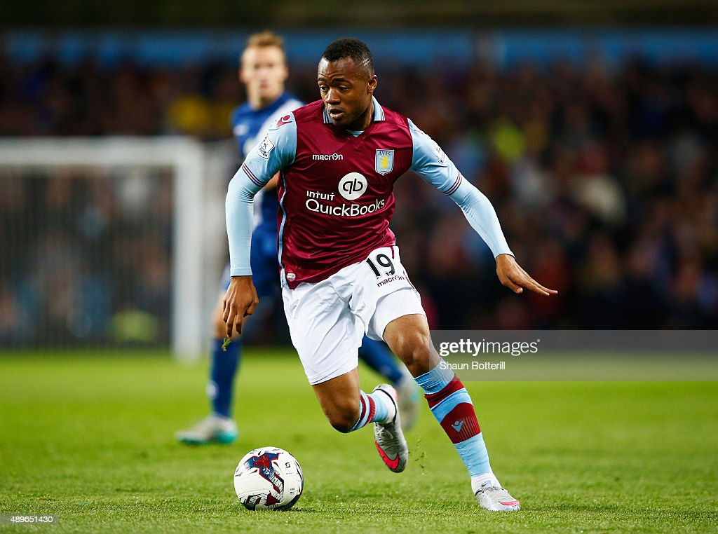 Jordan Ayew of Aston Villa in action during the Capital One Cup Third Round match between Aston Villa and Birmingham City at Villa Park on September...