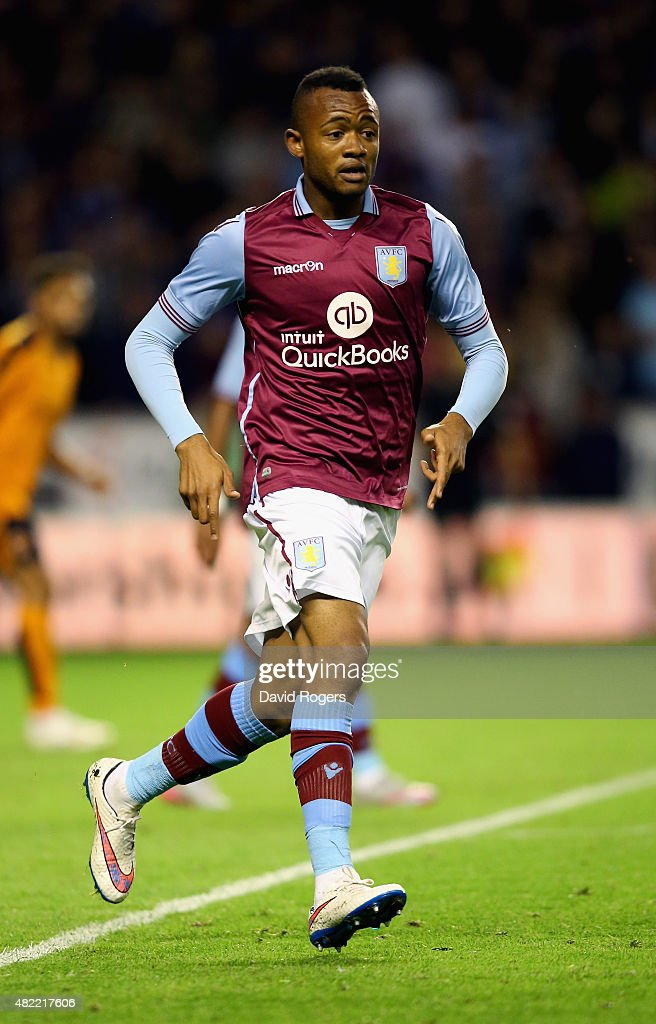 Jordan Ayew of Aston Villa looks on during the pre season friendly between Wolverhampton Wanderers and Aston Villa at Molineux on July 28 2015 in...