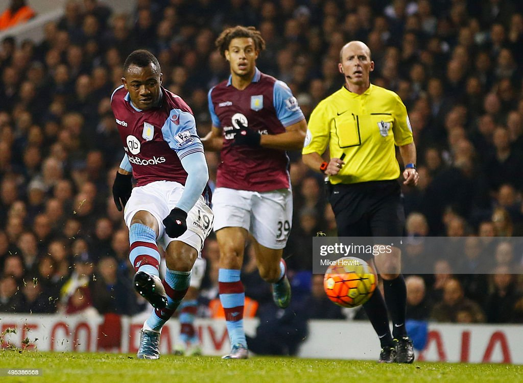 Jordan Ayew of Aston Villa scores their first goal during the Barclays Premier League match between Tottenham Hotspur and Aston Villa at White Hart...