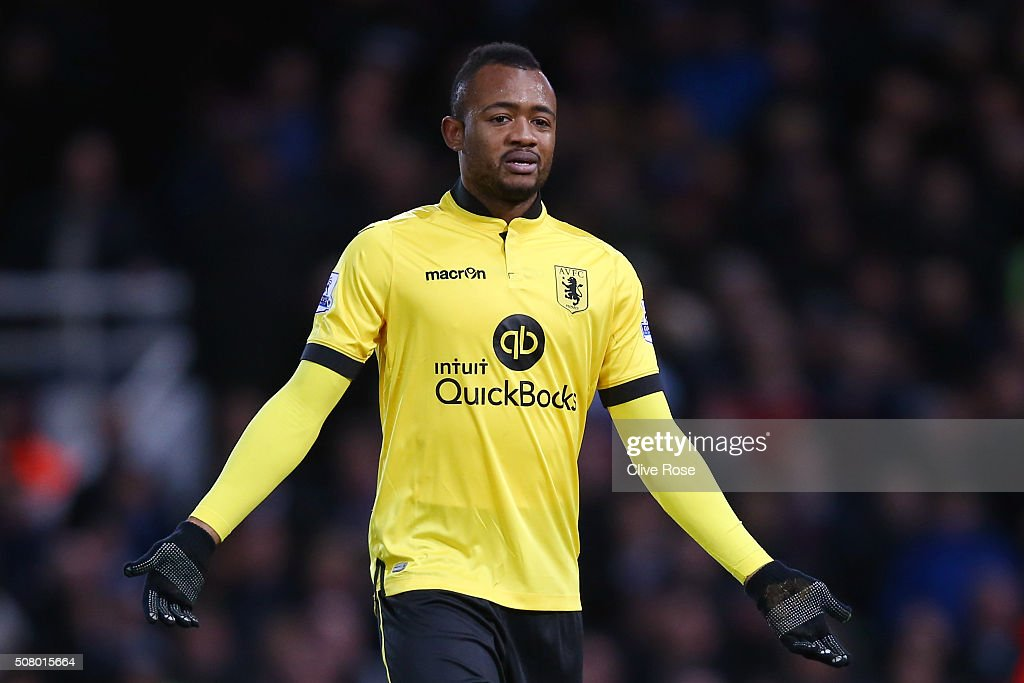 Jordan Ayew of Aston Villa walks off the pitch after shown a red card during the Barclays Premier League match between West Ham United and Aston...