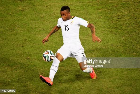 Jordan Ayew of Ghana controls the bal during the 2014 FIFA World Cup Brazil Group G match between Ghana and the United States at Estadio das Dunas on...