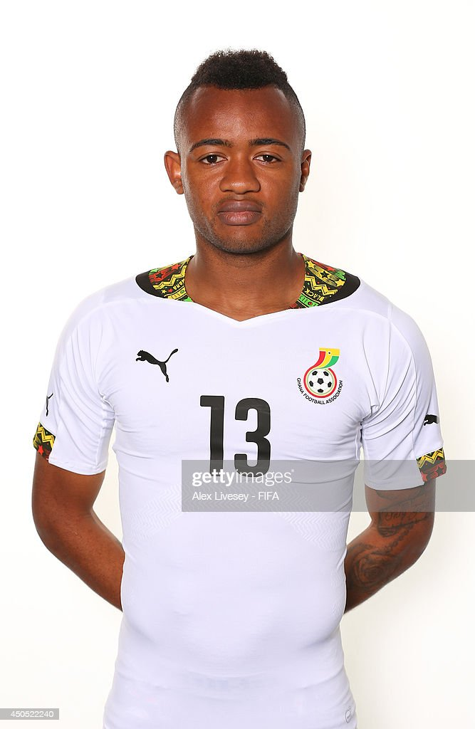 <a gi-track='captionPersonalityLinkClicked' href=/galleries/search?phrase=Jordan+Ayew&family=editorial&specificpeople=6595555 ng-click='$event.stopPropagation()'>Jordan Ayew</a> of Ghana poses during the official FIFA World Cup 2014 portrait session on June 11, 2014 in Maceio, Brazil.