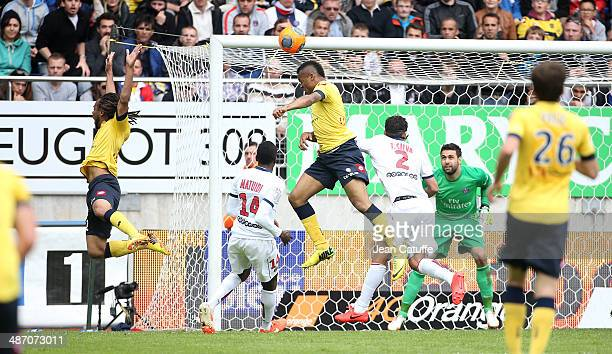 Jordan Ayew of Sochaux in action during the French Ligue 1 match between FC Sochaux Montbeliard and Paris SaintGermain FC at Stade Bonal on April 27...