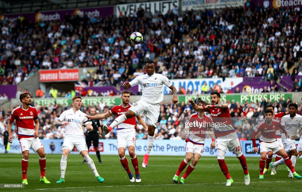 Jordan Ayew of Swansea City heads towards goal during the Premier League match between Swansea City and Middlesbrough at the Liberty Stadium on April 2, 2017 in Swansea, Wales.