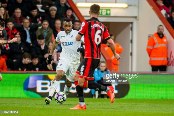Jordan Ayew of Swansea City in action during the Premier League match between AFC Bournemouth and Swansea City at Vitality Stadium on March 18 2017...