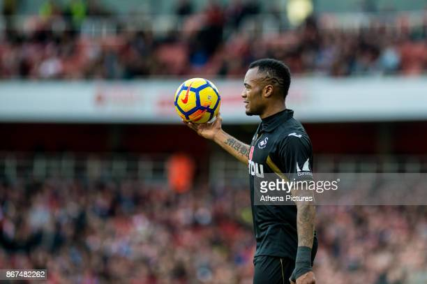 Jordan Ayew of Swansea City in action during the Premier League match between Arsenal and Swansea City at Emirates stadium on October 28 2017 in...