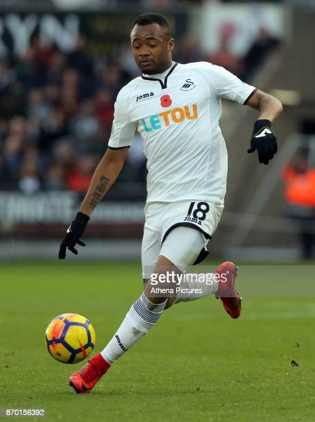 Jordan Ayew of Swansea City in action during the Premier League match between Swansea City and Brighton and Hove Albion at The Liberty Stadium on...