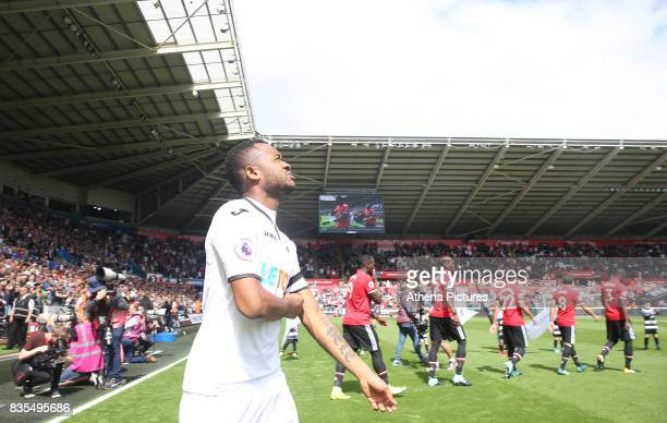 Jordan Ayew of Swansea City prior to kick off of the Premier League match between Swansea City and Manchester United at The Liberty Stadium on August...