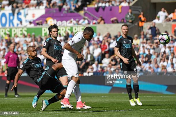 Jordan Ayew of Swansea City scores his sides first goal during the Premier League match between Swansea City and West Bromwich Albion at Liberty...