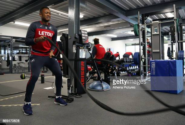 Jordan Ayew of Swansea exercises in the gym during the Swansea City Training at The Fairwood Training Ground on November 01 2017 in Swansea Wales