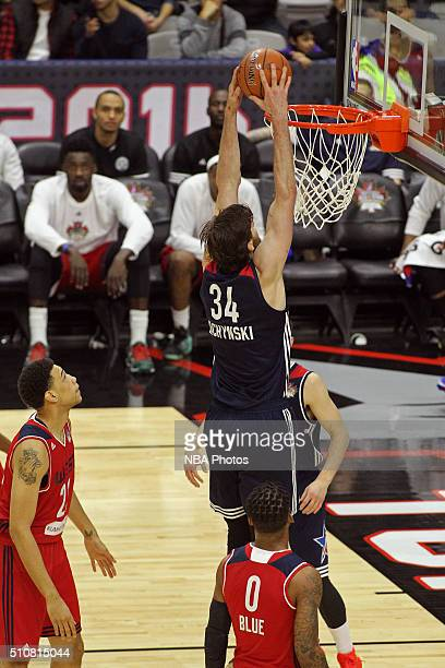 Jordan Bachynski of the East dunks the ball during the NBA DLeague AllStar Game 2016 presented by Kumho Tire as part of 2016 AllStar Weekend at the...