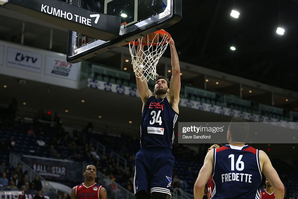 Jordan Bachynski #34 of the East handles the ball against the West during the NBA D-League All-Star Game 2016 presented by Kumho Tire as part of 2016 All-Star Weekend at the Ricoh Coliseum on February 13, 2016 in Toronto, Ontario, Canada.
