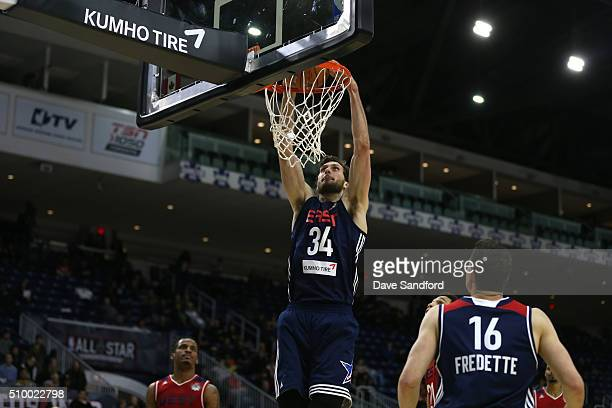Jordan Bachynski of the East handles the ball against the West during the NBA DLeague AllStar Game 2016 presented by Kumho Tire as part of 2016...