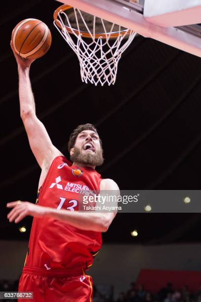Jordan Bachynski of the Nagoya Diamond Dolphins goes up for a dunk during the B League match between Alvark Tokyo and Nagoya Diamond Dolphins at...