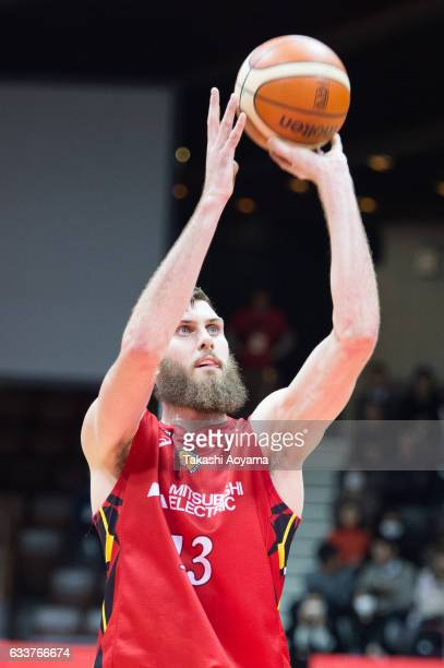 Jordan Bachynski of the Nagoya Diamond Dolphins shoots a free throw during the B League match between Alvark Tokyo and Nagoya Diamond Dolphins at...