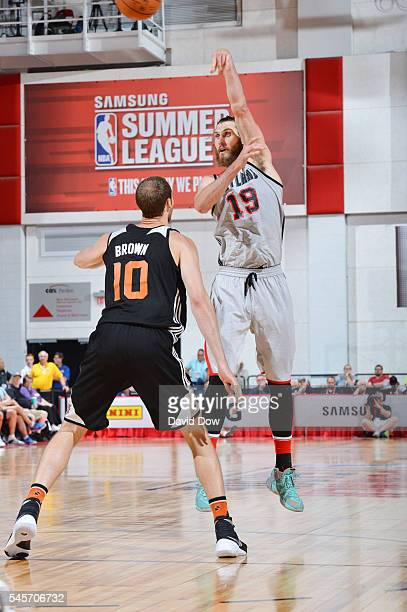 Jordan Bachynski of the Portland Trail Blazers passes the ball against the Phoenix Suns during the 2016 NBA Las Vegas Summer League game on July 9...