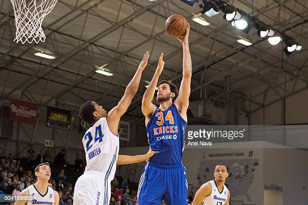 Jordan Bachynski of the Westchest Knicks shoots the ball against the Reno Bighorns during the 2016 NBA DLeague Showcase on January 8 2016 in Santa...