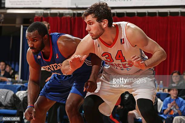 Jordan Bachynski of the Westchester Knicks waits for a rebound during the game against the Delaware 87ers at the Westchester County Center on...