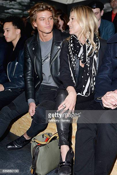 Jordan Barrett and Kate Moss attend the Coach show during The London Collections Men SS17 at on June 13 2016 in London England