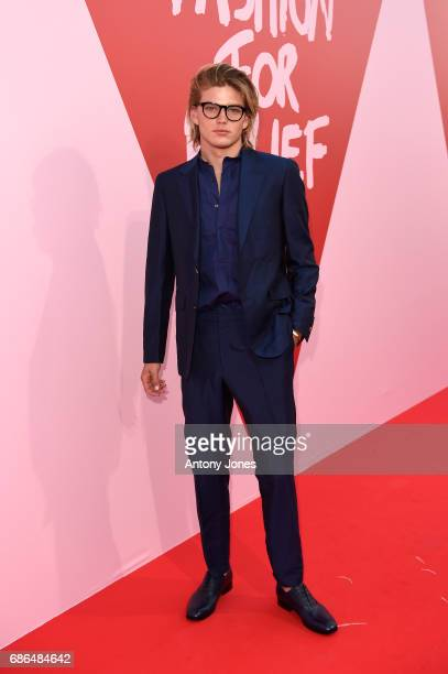 Jordan Barrett attends the Fashion for Relief event during the 70th annual Cannes Film Festival at Aeroport Cannes Mandelieu on May 21 2017 in Cannes...