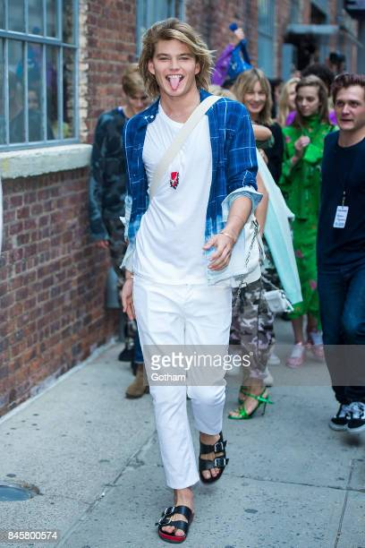 Jordan Barrett attends the Zadig Voltaire fashion show during New York Fashoin Week at Cedar Lake in Chelsea on September 11 2017 in New York City