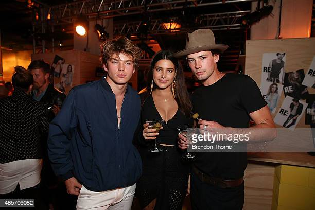 Jordan Barrett Tahnee Atkinson and Jai Stevens attend the RE Denim For David Jones launch party at St James Station on August 29 2015 in Sydney...