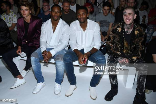 Jordan Barrett Victor CruzBrice Butler and Lil Peep attend the Balmain Menswear Spring/Summer 2018 show as part of Paris Fashion Week on June 24 2017...