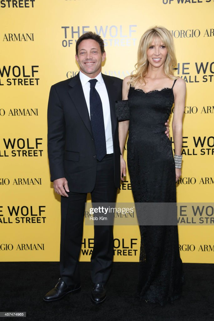 Jordan Belfort and guest attend the 'The Wolf Of Wall Street' premiere at Ziegfeld Theater on December 17, 2013 in New York City.