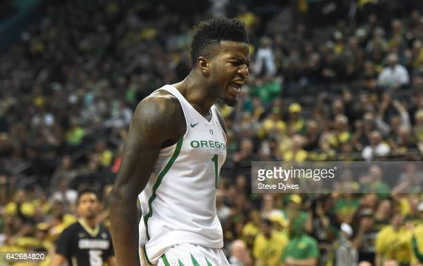 Jordan Bell of the Oregon Ducks celebrates after making a dunk during the first half of the game against the Colorado Buffaloes at Matthew Knight...