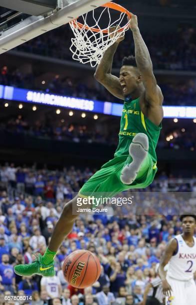 Jordan Bell of the Oregon Ducks dunks the ball in the second half against the Kansas Jayhawks during the 2017 NCAA Men's Basketball Tournament...