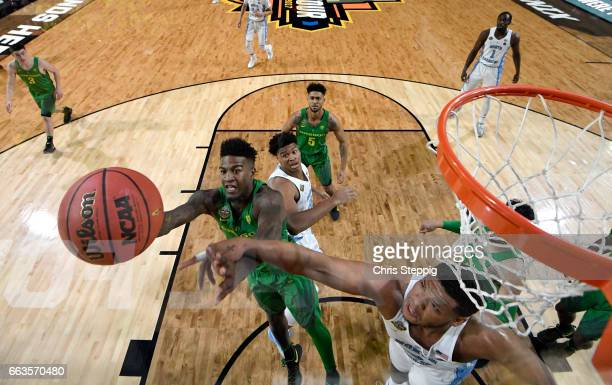 Jordan Bell of the Oregon Ducks goes up for a layup against the North Carolina Tar Heels during the 2017 NCAA Men's Final Four Semifinal at...