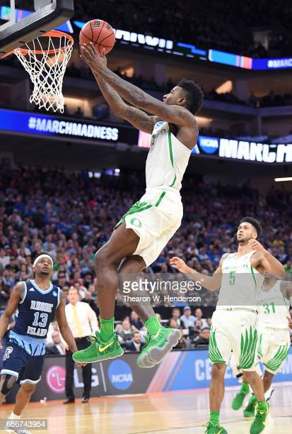 Jordan Bell of the Oregon Ducks goes up for a layup against the Rhode Island Rams during the second round of the 2017 NCAA Men's Basketball...