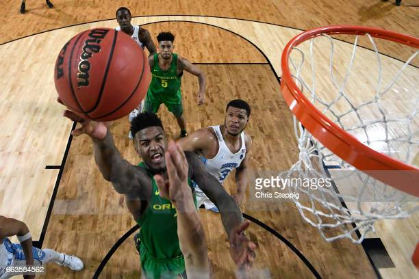 Jordan Bell of the Oregon Ducks goes up for a layup during the 2017 NCAA Men's Final Four Semifinal against the North Carolina Tar Heels at...
