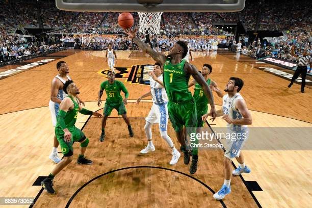 Jordan Bell of the Oregon Ducks reaches out for a rebound during the 2017 NCAA Men's Final Four Semifinal against the North Carolina Tar Heels at...