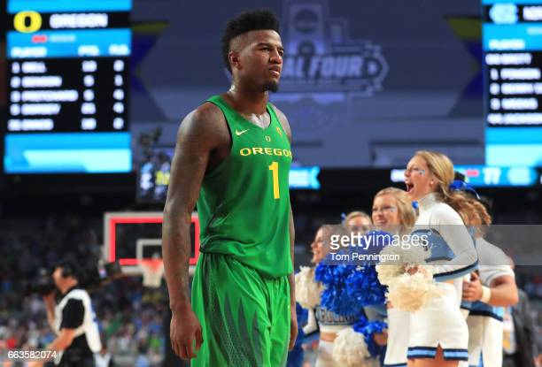 Jordan Bell of the Oregon Ducks reacts after being defeated by the North Carolina Tar Heels during the 2017 NCAA Men's Final Four Semifinal at...