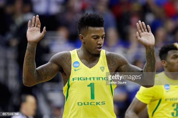Jordan Bell of the Oregon Ducks reacts in the first half against the Michigan Wolverines during the 2017 NCAA Men's Basketball Tournament Midwest...