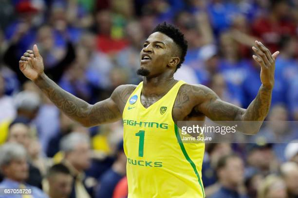 Jordan Bell of the Oregon Ducks reacts in the second half against the Michigan Wolverines during the 2017 NCAA Men's Basketball Tournament Midwest...