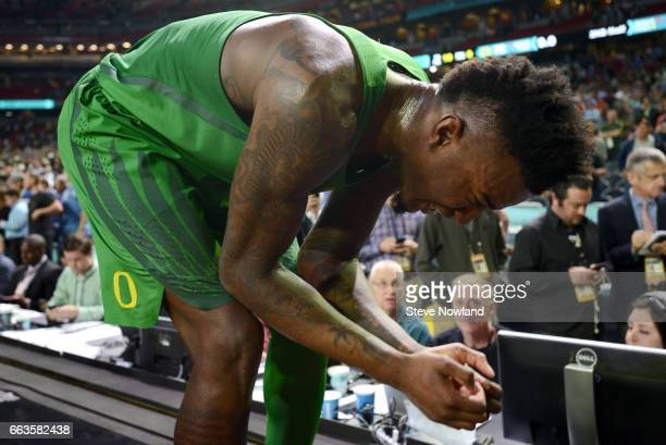 Jordan Bell of the Oregon Ducks reacts to the loss during the 2017 NCAA Men's Final Four Semifinal against the North Carolina Tar Heels at University...