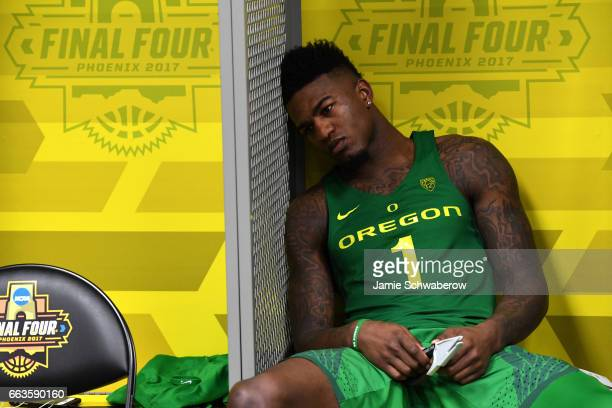 Jordan Bell of the Oregon Ducks reacts to the loss in the locker room during the 2017 NCAA Men's Final Four Semifinal against the North Carolina Tar...