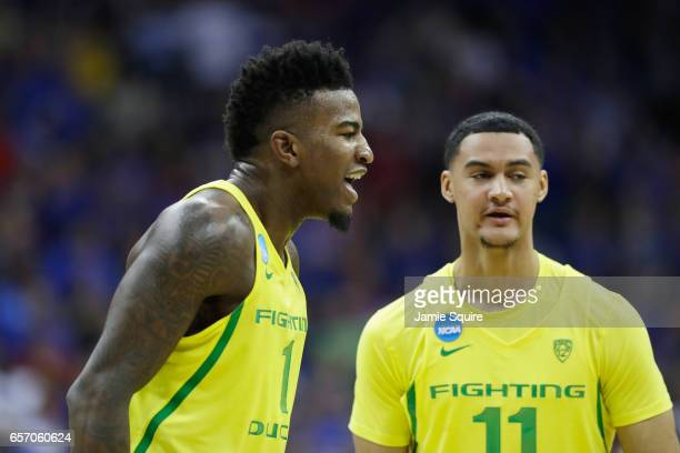 Jordan Bell of the Oregon Ducks reacts with teammates after defeating the Michigan Wolverines 6968 during the 2017 NCAA Men's Basketball Tournament...