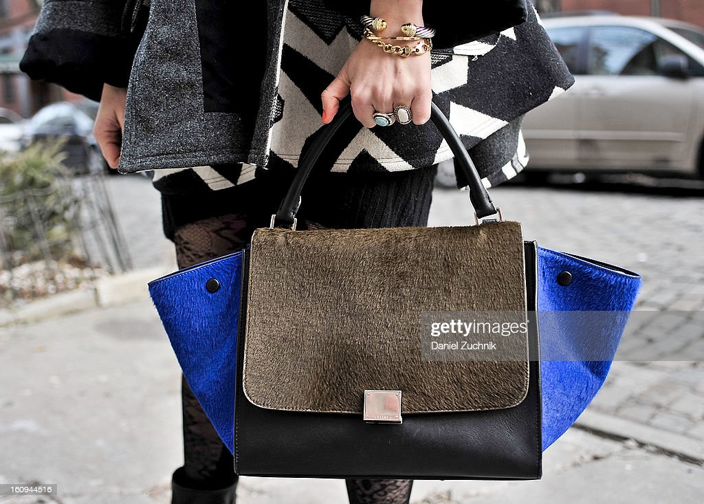 Jordan Blumberg, editor at Daily Candy, seen outside the Dannijo jewelry presentation with a Celine bag on February 7, 2013 in New York City.