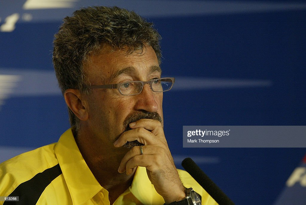 Jordan boss Eddie Jordan during the FIA press conference for the Formula One British Grand Prix at Silverstone on July 4 2002 at Silverstone Circuit...